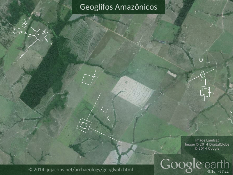 Amazonas geoglyphs, aerial image with outlines of earthworks.
