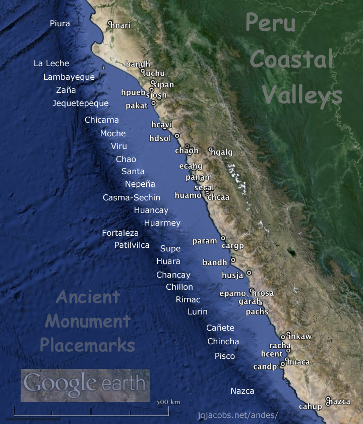 peru coastal valleys map with placemark links