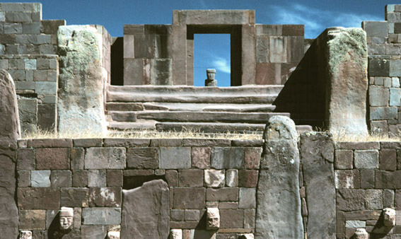 Tiwanaku, Bolivia, Sunken Court and Kalasasaya Mound.