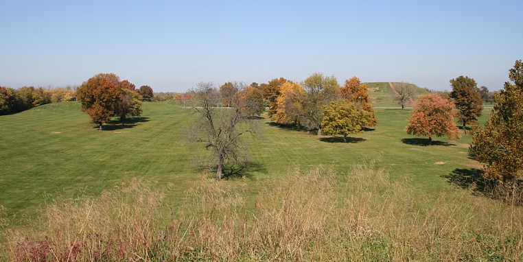 Looking north across Cahokia's plaza to Monk's Mound.