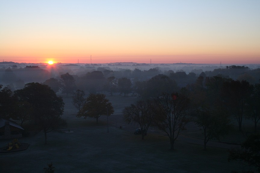 Sunrise from Miamisburg Mound, Ohio.
