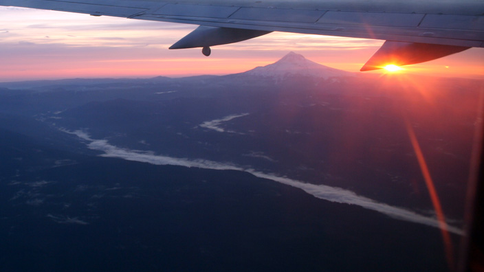 Mount Hood, Oregon, Sandy River, sunrise