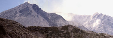Mt. St. Helens from the north side after the May 18 eruption decapitated the peak.